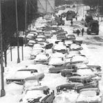 Stranded cars on the street - blizzard of 67
