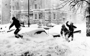 1967 Chicago Blizzard - Kids Playing in Snow