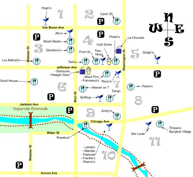 Downtown Naperville Map Bars Restaurants DuPageBlogcom
